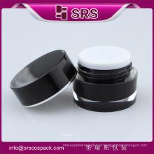 Screen Printing preto redondo cintura forma acrílico Skincare jarros e plástico 5g 10g 15g 30g 50g creme contêiner corpo