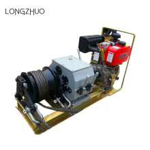Diesel Engine Powered Winch with Wire Rope