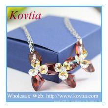 ALTA extremidade fina jóias 925 prata esterlina SWA colar de pingente de cristal