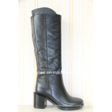 New Fashion Square Low Heels Winter Leather Women Boots