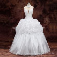 2017 perles de poissons épaule sangle organza robe de mariée robe de mariage avec de vraies images