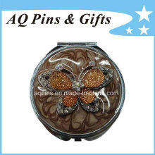 Round Cosmetic Mirror with Comb