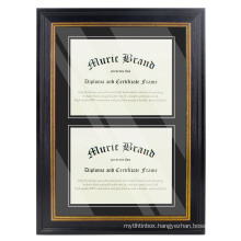 2020 autumn new design wholesale custom black 16*22 Wall Hangers Double Diploma Frame for Two Documents Certificates