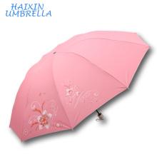 Nepal SUN Brand y India Market Poliéster Silver Coating Pantalla de seda Flower Print Fabric 3 Distribuidores plegables China Umbrella