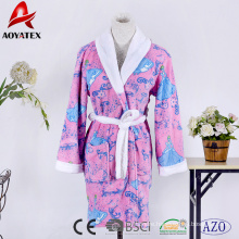 Cheap price printed girls super soft coral fleece bathrobe with hooded