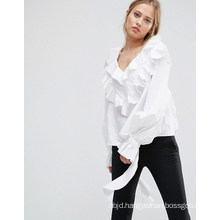 Ladies Collarless Blouse with Long Sleeve Blouse