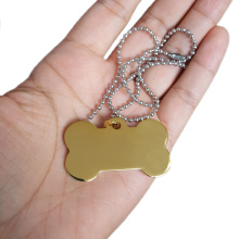 Bone Shaped Metal Identity Name Tag Dog Medallion