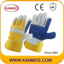 Желтый Синий Промышленная Ручная Безопасность Чехлы Сплит-Кожаные Рабочие Перчатки (110162)