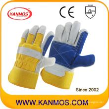 Рукавицы из перчаток для рабочей зоны из искусственной кожи с желтым синим перчатком (110162)