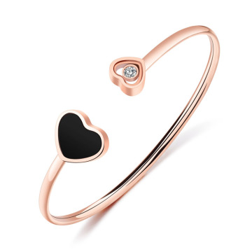 Custom Rose Gold Double Heart Manschett Armband