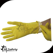 SRSAFETY yellow rubber latex long household washing gloves