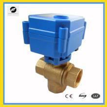 Válvula de desvío de agua eléctrica de latón de 3 vías para equipos de auto, calentador de agua de sistema solar de agua, aire acondicionado