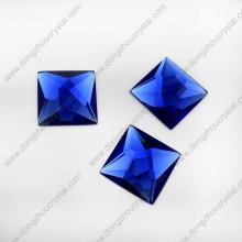 Saphier Blue Glass Jewelry Stone puede perforar dos agujeros (DZ-1072)