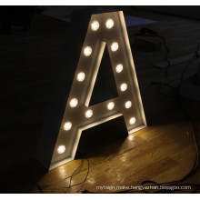 Vintage Metal Sign Letters Bulb Letters for Wedding