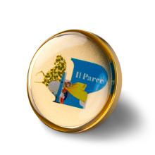 Jinshi Factory Custom Highend Gold Plating Metal Name Epoxy Resin Coating Pin Badge