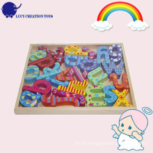 Educational Colorful Wooden Alphabet Pieces with a tray