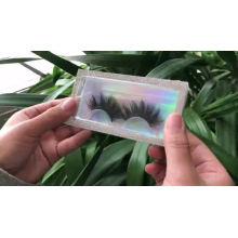 B145 Hitomi Private Label Eyelash Box wholesale false eyelashes White marbled magnetic eyelash Packaging with Synthetic eyelash