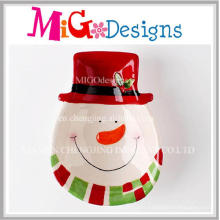 Cheap Christmas Gifts Ceramic Snowman Snack Plate