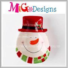 Barato presentes de natal cerâmica boneco de neve placa de lanche