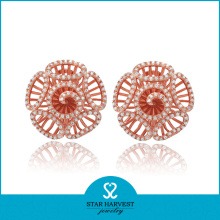 Genuine Rose Gold Plating Silver Earring Jewellery with CZ (E-0017)