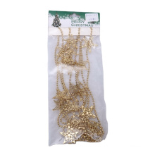 270cm Decorative Gold Beads Garland with Hollow-out Star for Christmas Decoration