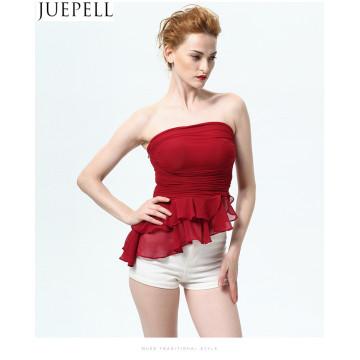 Sommer neue Volants Frauen BH Brust eingewickelte wilde Bodenbildung Shirt Gaze Rüschen Weste schlanke sexy Bluse