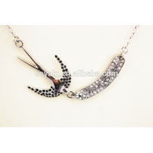 Exquisite 316l stainless steel swallow with crystal swallow pendant necklace