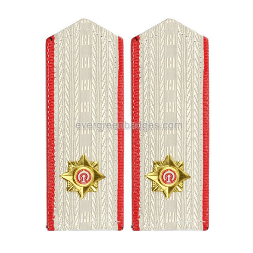 White Epaulette Metal Logo with Red Ribbon Border