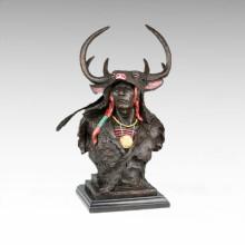 Busts Brass Statue Antler Male Decoration Bronze Sculpture Tpy-472