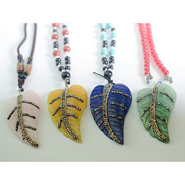 2016 Fashion Jewelry Crystal Leaves Pendant with Crystal Rhinestone Paved