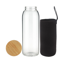 Portable Borosilicate Glass Water Bottle with Bamboo Lid
