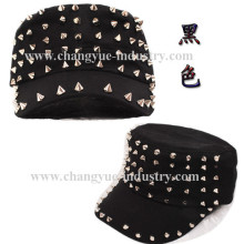 Moda tachonado con picos remache sombrero militar tapa plana