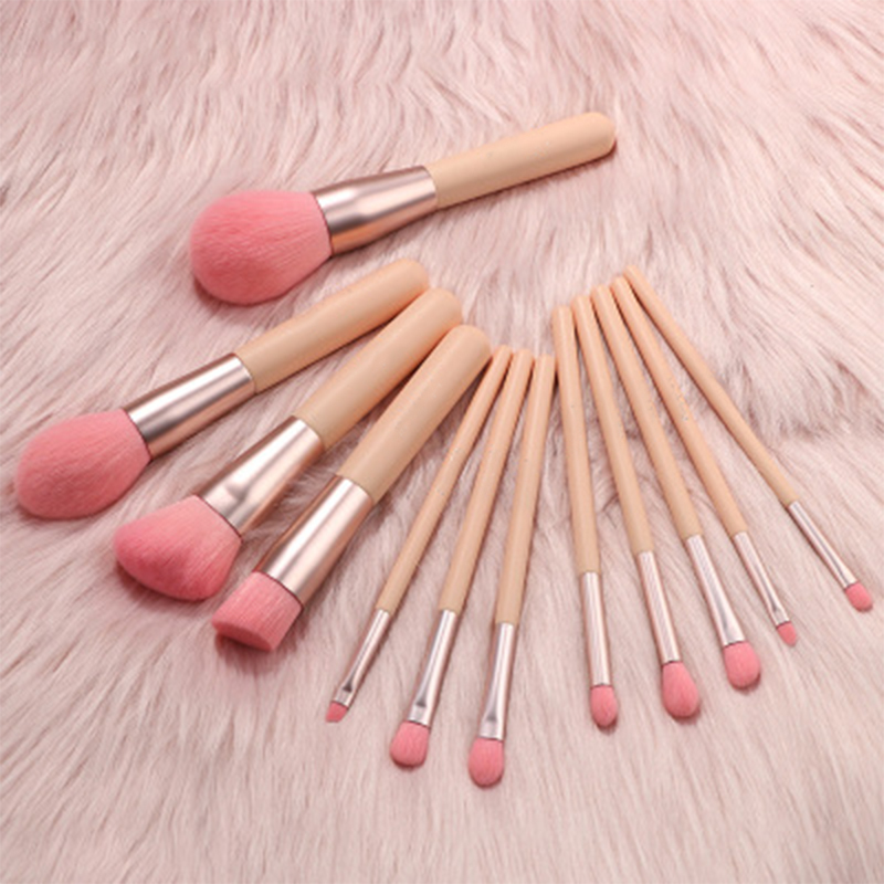 Pink Hair Makeup Brushes Set
