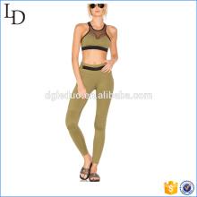 Contraste de malla de malla gimnasio yoga desgaste mujer yoga sport wear sets