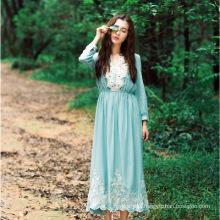 soft quality polyester islamic clothing dubai women printed blue lace dress