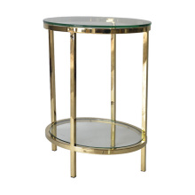 Modern double glass stainless steel side table