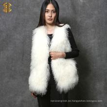 Chaleco real colorido de la piel de cordero de Tíbet de la venta caliente de las muchachas Gilet de la piel de Mongolia