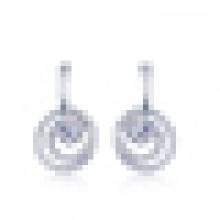 Boucles d'oreilles élégantes en argent sterling 925 pour femme incrustées de cristal