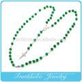 El último collar de cadena de cuentas verdes de plástico de 8 mm con diseño religioso de 2014 con madre de acero inoxidable, María y Jesús, cruzan encanto desig
