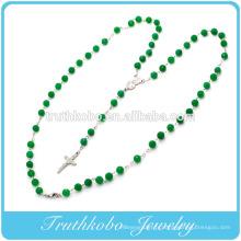 2014 religieux dernière conception en plastique 8mm collier de chaîne de perle verte avec mère en acier inoxydable Marie et Jésus croix charme desig