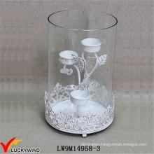Hurricane Glass Metal Distressed White Wedding Candle Holder