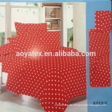 Runde Punkt und roten Hintergrund Erwachsenen große Größe 75gsm 100% Polyester Mikrofaser Bettlaken Sets
