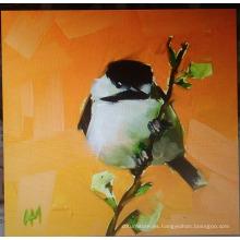 Pintura al óleo de pájaro blanco