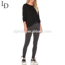 Design quente Novo design de moda senhoras apertadas lace-up mulheres calças de yoga