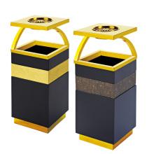 Cubo de basura de acero inoxidable para el vestíbulo con el cenicero (YW0072)