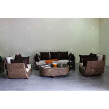 Unique Amusing DesignsAntique Natural Water Hyacinth Sofa Set for Living Room Wicker Furniture
