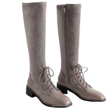 Leather Boots Real Riding Knee High Boots Women Winter Genuine Leather Shoes Ladies Square Low Heels for Women