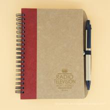 Kundenspezifisches elastisches Band-Kraftpapier-leeres Notizbuch gewundenes Notizbuch