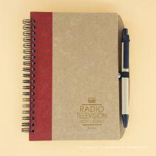 Cahier de notes vierge en papier kraft blanc à bandes élastiques Cahier à spirale