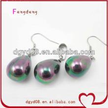 Mode perle belle pendentif élégant et boucles d'oreilles ensemble de bijoux en gros